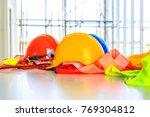 orange  yellow and blue hard...   Shutterstock . vector #769304812