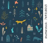 wildwood floral seamless... | Shutterstock .eps vector #769318015