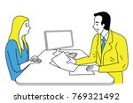 doctor giving health care... | Shutterstock .eps vector #769321492