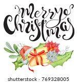 merry christmas watercolor card ... | Shutterstock . vector #769328005