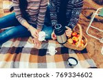 a man and a woman  covered with ... | Shutterstock . vector #769334602