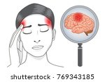woman touch her head because... | Shutterstock .eps vector #769343185