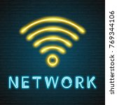 network and phone icon neon...