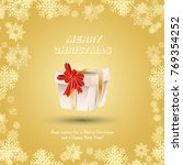 red gift wrapped with gold... | Shutterstock .eps vector #769354252