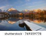 panorama of a mountain lake in winter scenery, Strbske Pleso, Slovakia, High Tatras