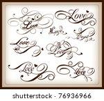 set of love calligraphy | Shutterstock .eps vector #76936966