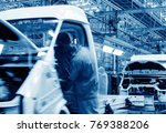 car production line  skilled... | Shutterstock . vector #769388206