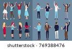 set of people dancing at disco | Shutterstock .eps vector #769388476