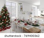 3d rendering. nordic kitchen... | Shutterstock . vector #769400362