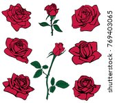 Stock vector silhouettes of roses isolated on white background vector illustration 769403065