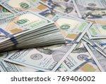 background of 100 dollar bills | Shutterstock . vector #769406002