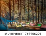 camping and tent under the pine ... | Shutterstock . vector #769406206
