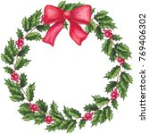 round christmas wreath with... | Shutterstock . vector #769406302