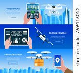 drones with box and remote... | Shutterstock .eps vector #769416052