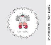 cute christmas themed elephant...   Shutterstock .eps vector #769416082
