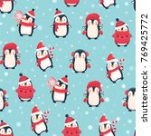 seamless pattern with penguins. ... | Shutterstock .eps vector #769425772