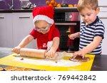 cute little boy and girl twins... | Shutterstock . vector #769442842