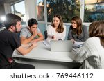 group of young male and female... | Shutterstock . vector #769446112