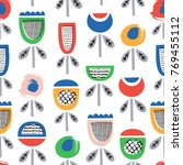 kid flower seamless pattern.... | Shutterstock .eps vector #769455112