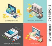 isometric accounting 2x2 design ... | Shutterstock .eps vector #769459348
