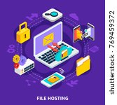 file hosting design concept set ...   Shutterstock .eps vector #769459372