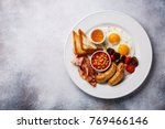 english breakfast with fried... | Shutterstock . vector #769466146