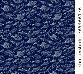 navy blue seamless vector... | Shutterstock .eps vector #769466176