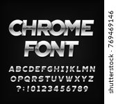 chrome alphabet font. metallic... | Shutterstock .eps vector #769469146