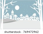village in a winter night  | Shutterstock .eps vector #769472962