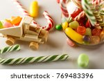 festive mess on the table. toys ... | Shutterstock . vector #769483396
