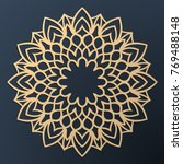 laser cutting mandala. golden... | Shutterstock .eps vector #769488148