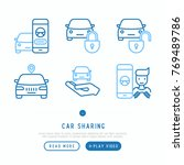 car sharing thin line icons set ... | Shutterstock .eps vector #769489786