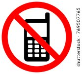 no cell phones zone sign. keep... | Shutterstock .eps vector #769507765