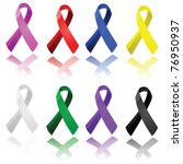 Set of glossy ribbons in different colors, to raise awareness for different causes - stock photo