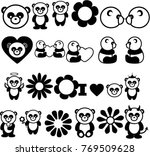 pandas icons collection black... | Shutterstock .eps vector #769509628
