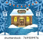 christmas card with brick house ... | Shutterstock . vector #769509976
