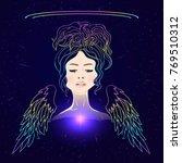 beautiful shaman woman with... | Shutterstock .eps vector #769510312