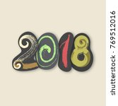 2018. happy new year of the dog.... | Shutterstock .eps vector #769512016