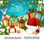christmas gift with festive... | Shutterstock .eps vector #769513936