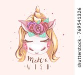 cute unicorn with blond hair... | Shutterstock .eps vector #769541326