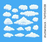 cartoon clouds isolated on blue ... | Shutterstock .eps vector #769543438
