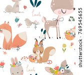 Stock vector seamles pattern with cute animals 769545655