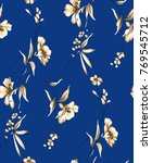 seamless textile floral pattern   Shutterstock . vector #769545712