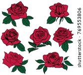 silhouettes of roses isolated... | Shutterstock .eps vector #769553806