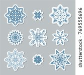 set of snowflakes. beautiful... | Shutterstock .eps vector #769555696
