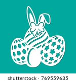 happy easter eggs with bow ... | Shutterstock .eps vector #769559635