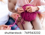 time for knitting. close up of...   Shutterstock . vector #769563232