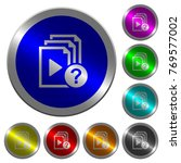 unknown playlist icons on round ... | Shutterstock .eps vector #769577002