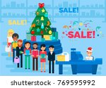 merry christmas and new year in ... | Shutterstock .eps vector #769595992