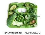 green fruits and vegetables in... | Shutterstock . vector #769600672